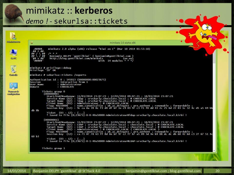 mimikatz :: kerberos demo ! - sekurlsa::tickets