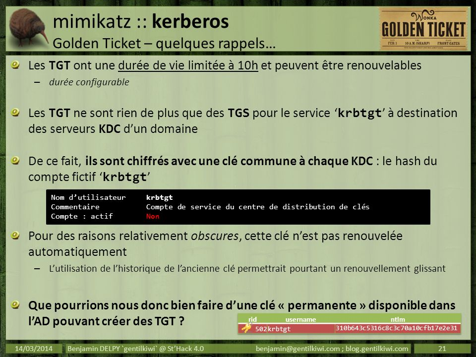 mimikatz :: kerberos Golden Ticket – quelques rappels…