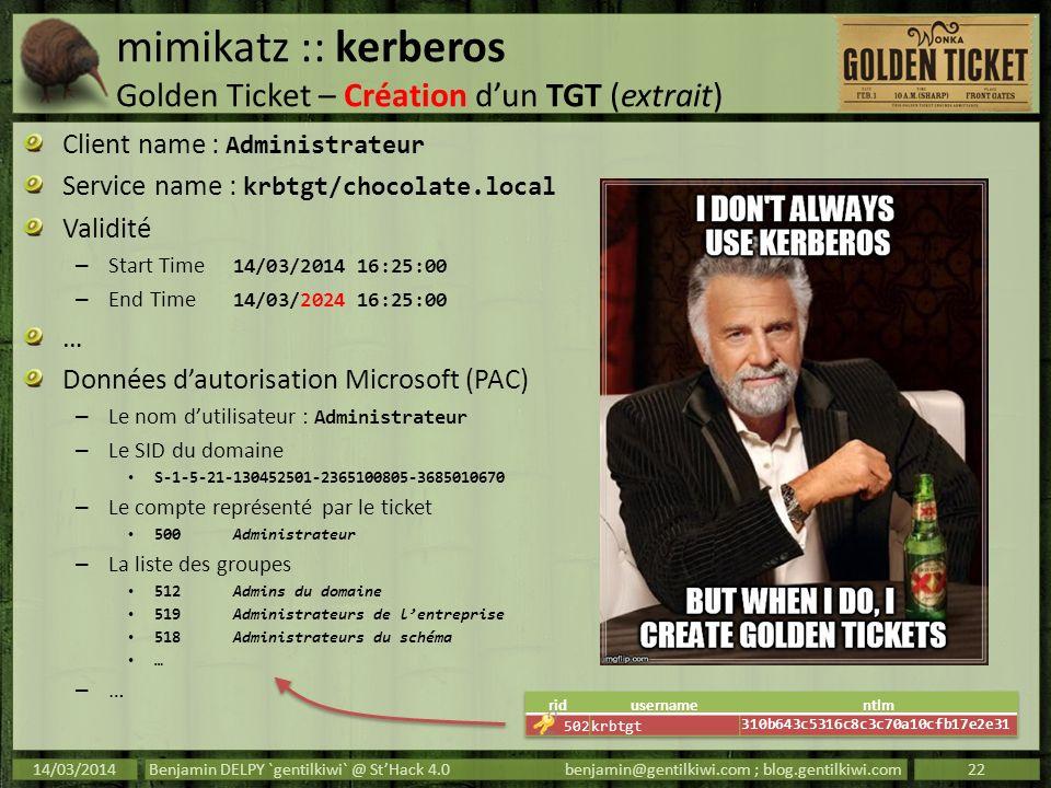 mimikatz :: kerberos Golden Ticket – Création d'un TGT (extrait)