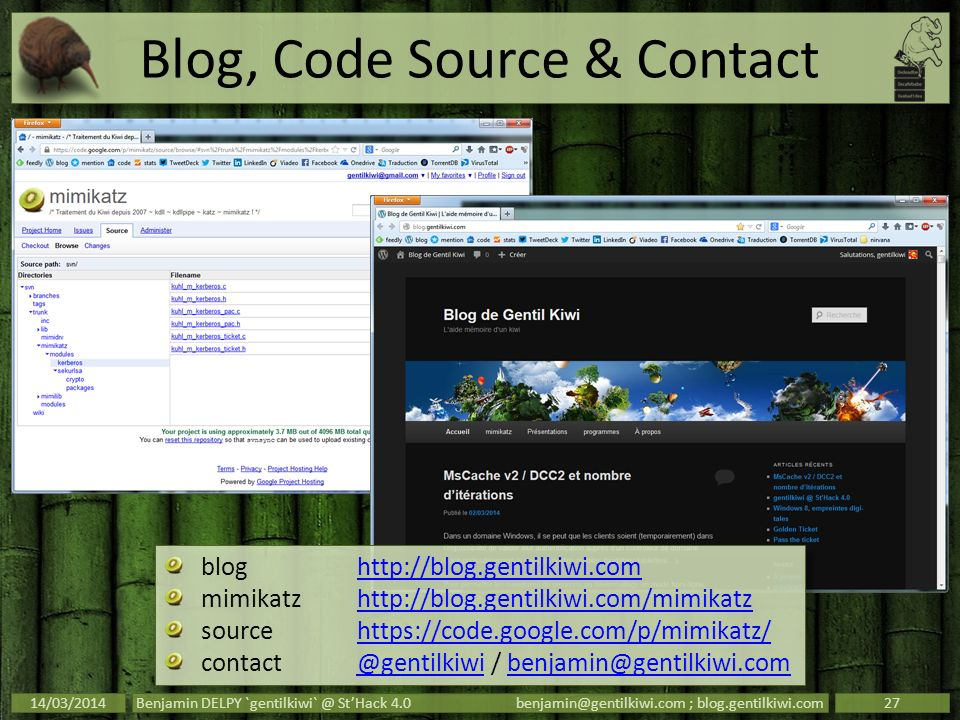 Blog, Code Source & Contact
