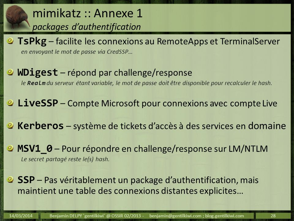 mimikatz :: Annexe 1 packages d'authentification