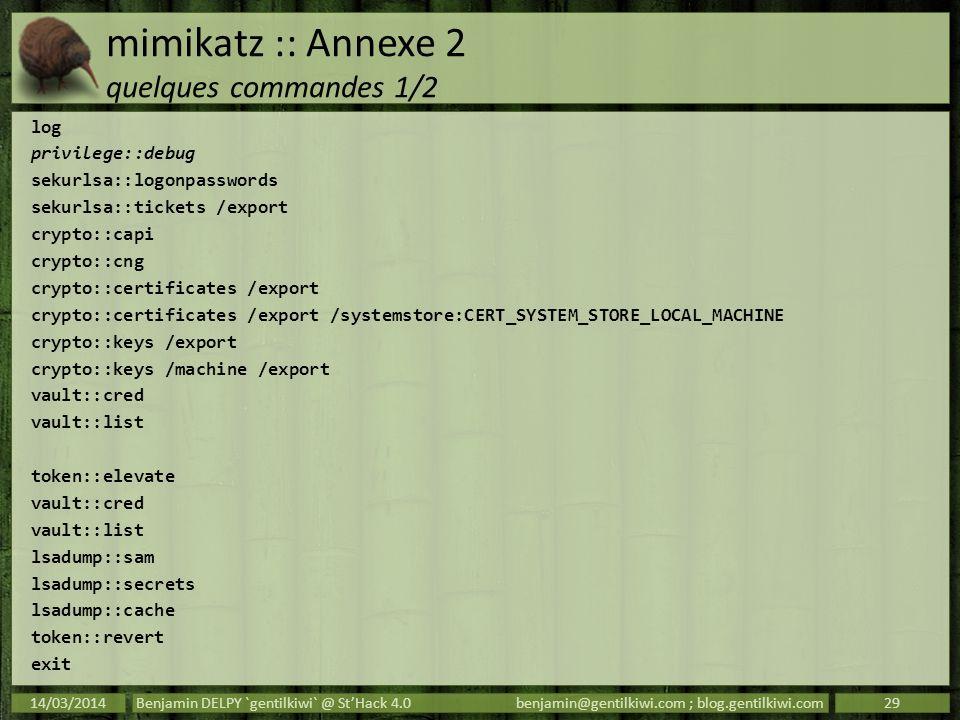 mimikatz :: Annexe 2 quelques commandes 1/2