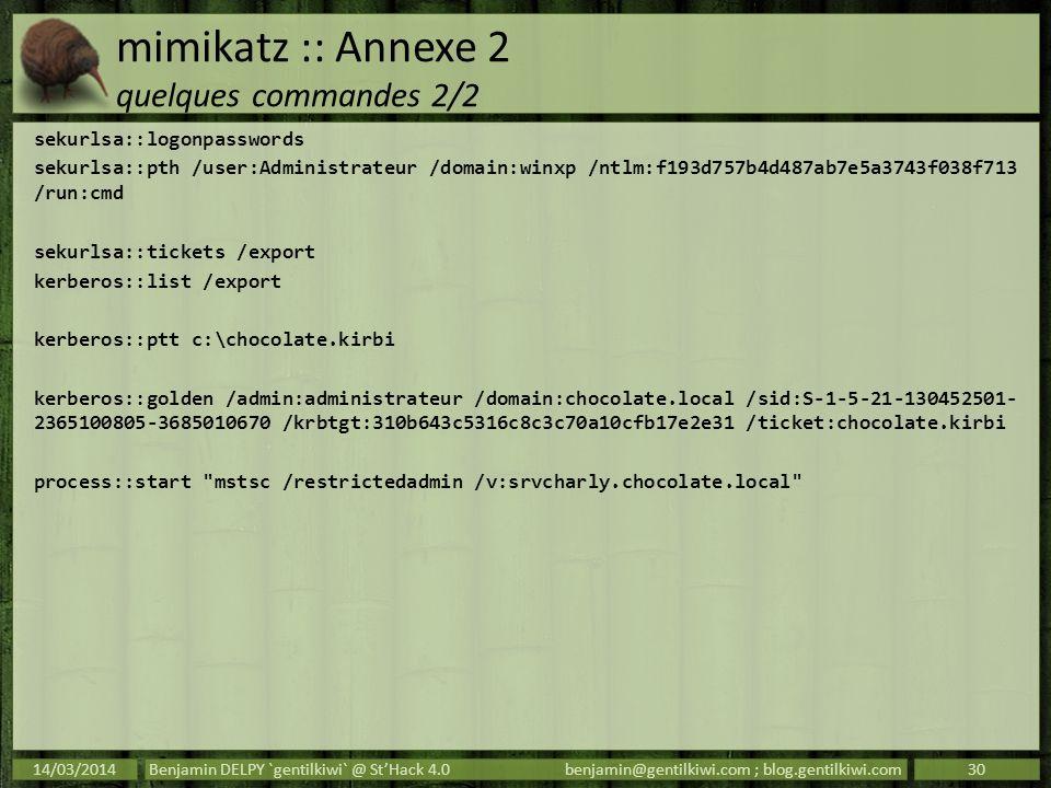mimikatz :: Annexe 2 quelques commandes 2/2