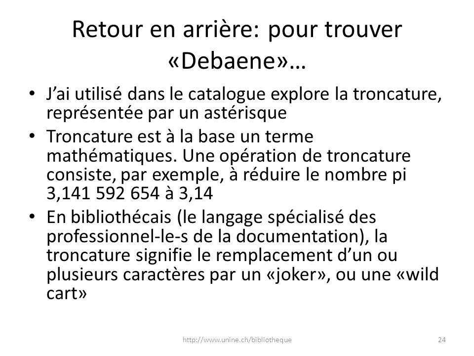 Retour en arrière: pour trouver «Debaene»…