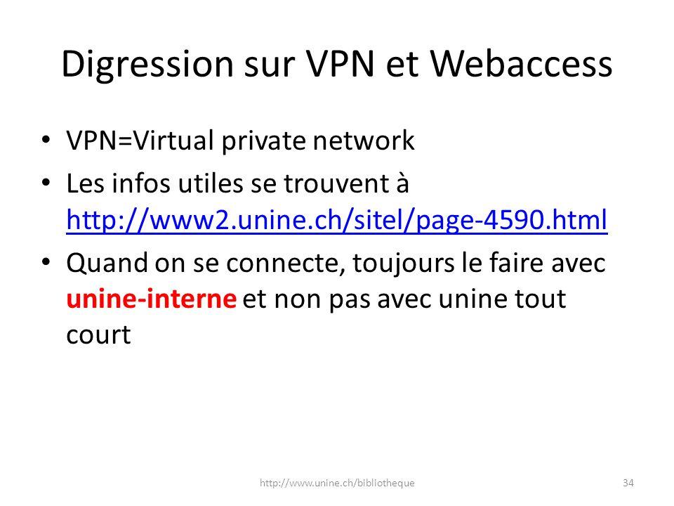 Digression sur VPN et Webaccess