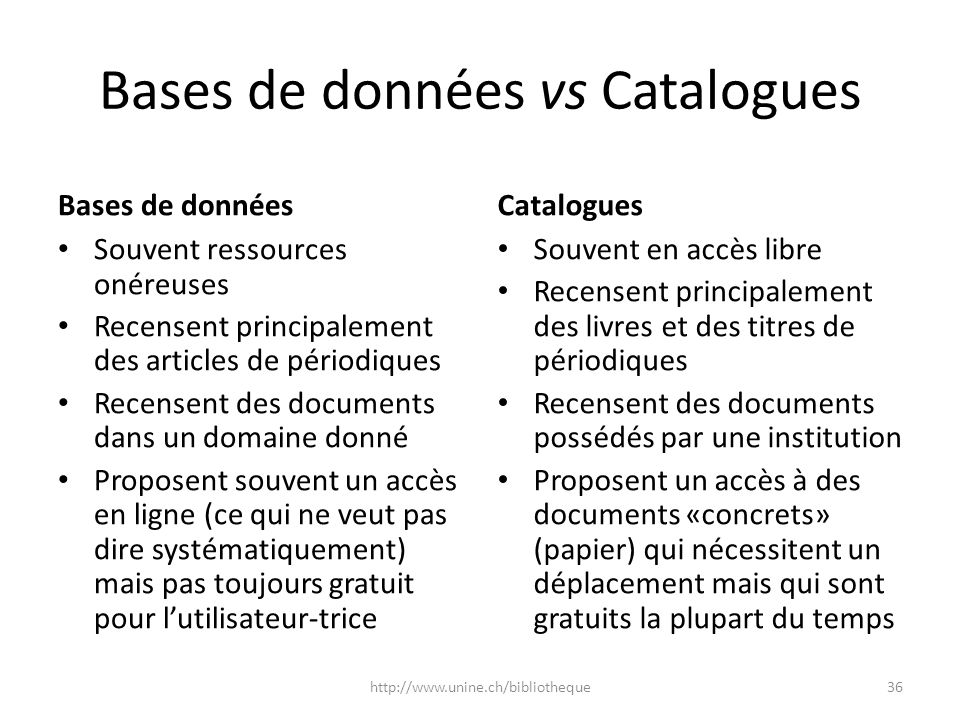 Bases de données vs Catalogues