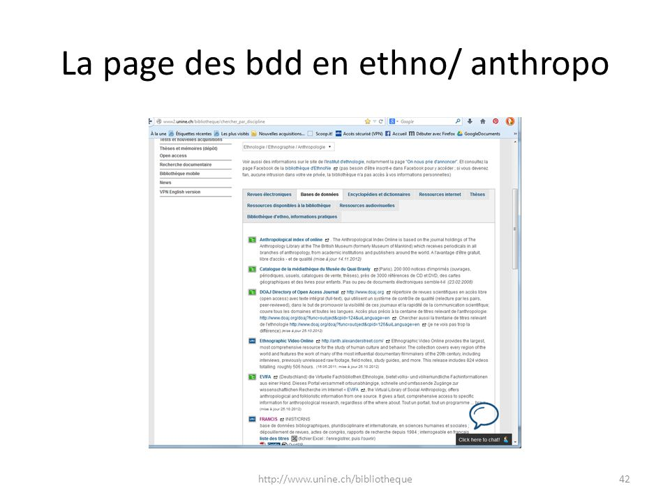 La page des bdd en ethno/ anthropo