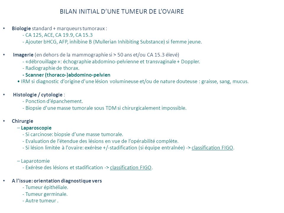 BILAN INITIAL D'UNE TUMEUR DE L'OVAIRE