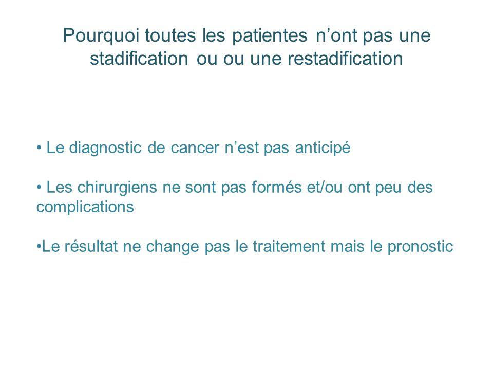Pourquoi toutes les patientes n'ont pas une stadification ou ou une restadification