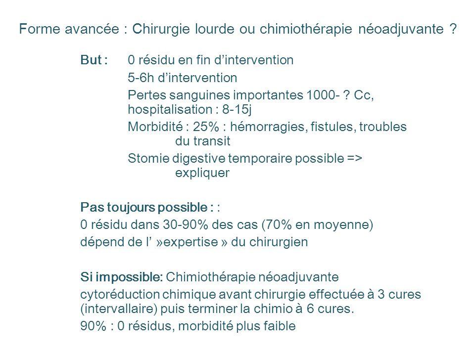 Forme avancée : Chirurgie lourde ou chimiothérapie néoadjuvante