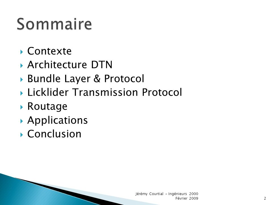Sommaire Contexte Architecture DTN Bundle Layer & Protocol