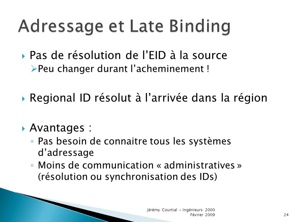 Adressage et Late Binding