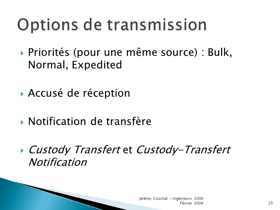 Options de transmission
