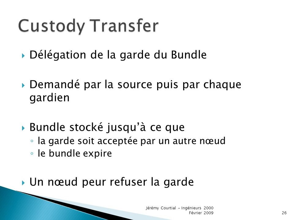 Custody Transfer Délégation de la garde du Bundle