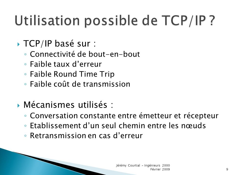 Utilisation possible de TCP/IP