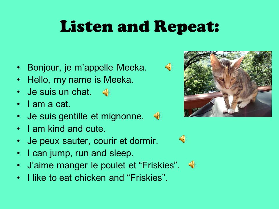 Listen and Repeat: Bonjour, je m'appelle Meeka.