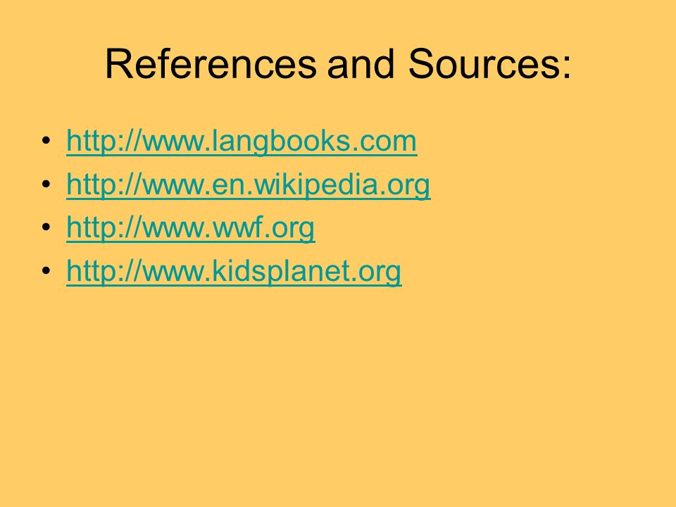 References and Sources: