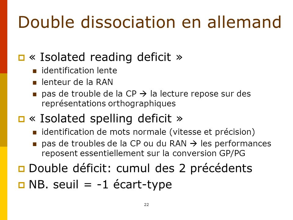 Double dissociation en allemand