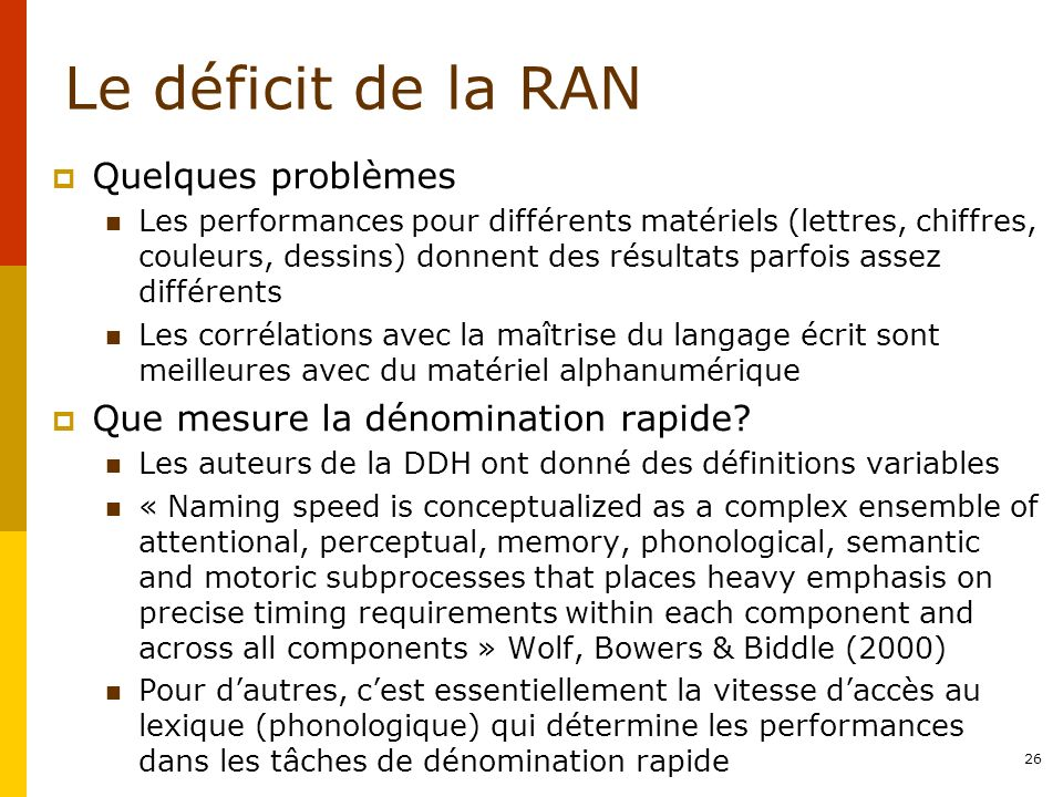 Le déficit de la RAN Quelques problèmes