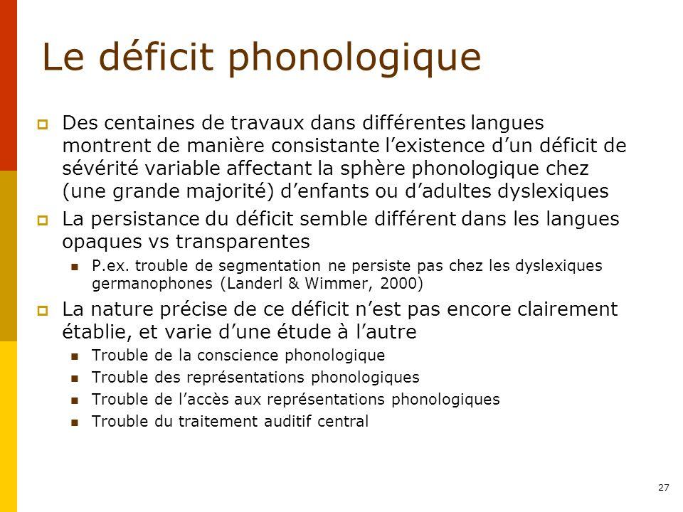 Le déficit phonologique