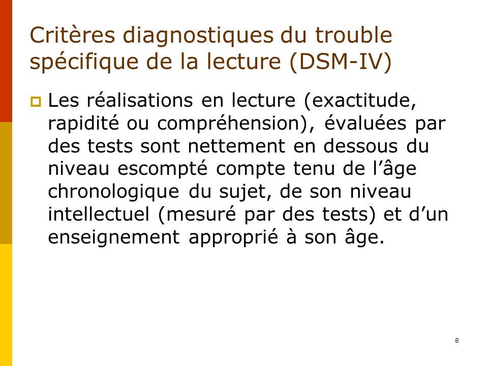 Critères diagnostiques du trouble spécifique de la lecture (DSM-IV)