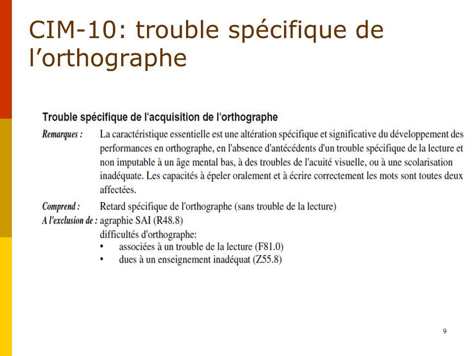 CIM-10: trouble spécifique de l'orthographe