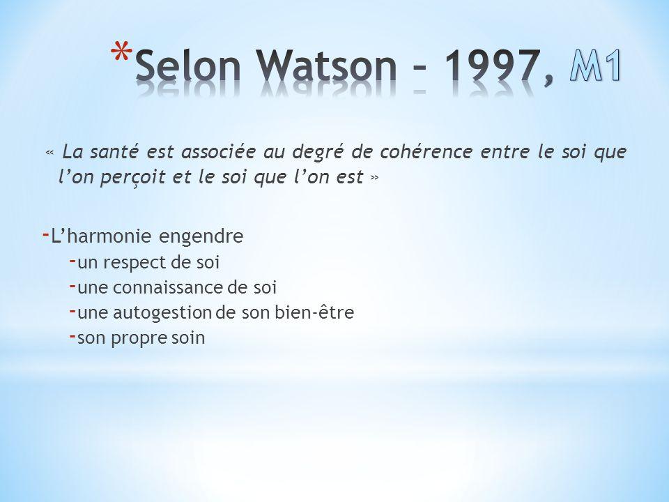 Selon Watson – 1997, M1 « La santé est associée au degré de cohérence entre le soi que l'on perçoit et le soi que l'on est »