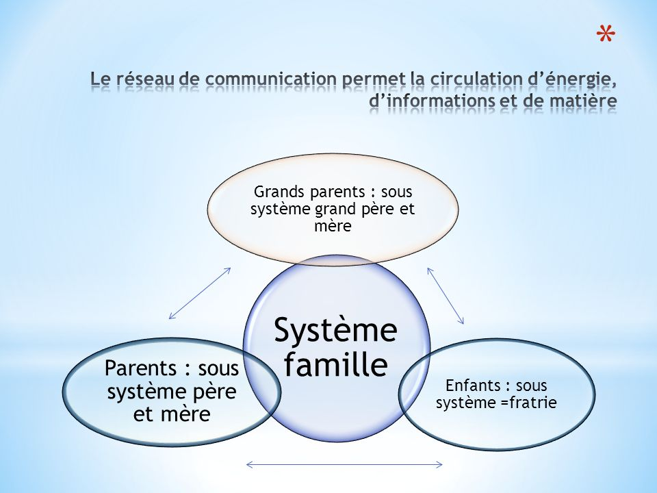 Le réseau de communication permet la circulation d'énergie, d'informations et de matière
