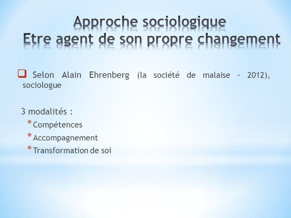 Approche sociologique Etre agent de son propre changement