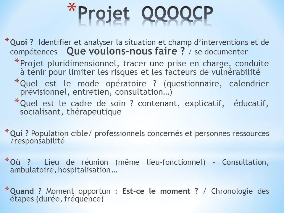 Projet QQOQCP Quoi Identifier et analyser la situation et champ d'interventions et de compétences - Que voulons-nous faire / se documenter.