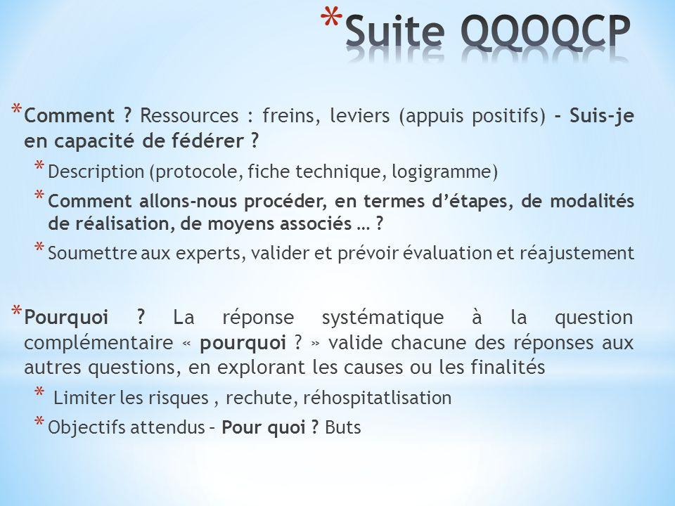Suite QQOQCP Comment Ressources : freins, leviers (appuis positifs) - Suis-je en capacité de fédérer