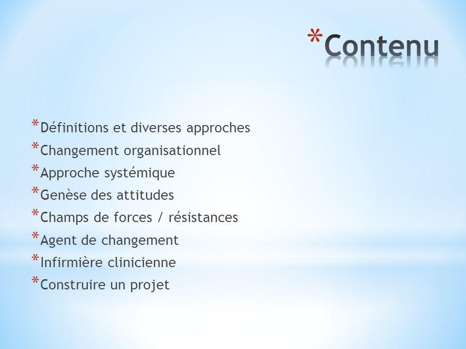 Contenu Définitions et diverses approches Changement organisationnel