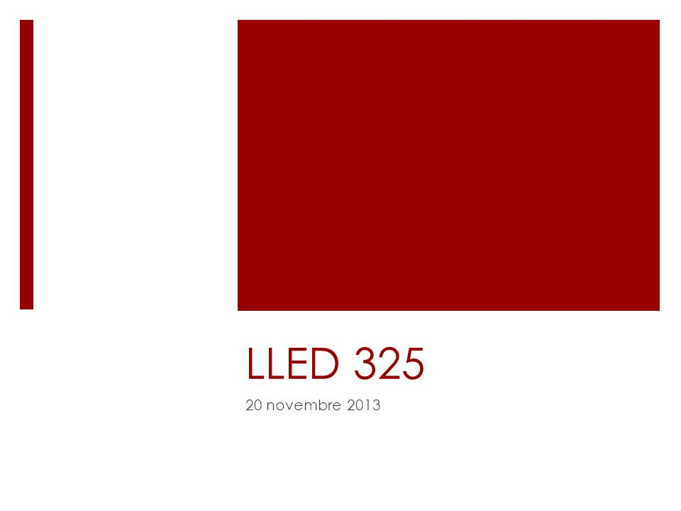LLED 325 20 novembre 2013