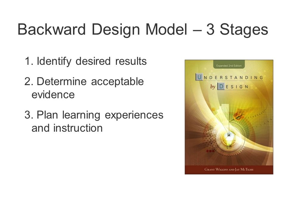 Backward Design Model – 3 Stages