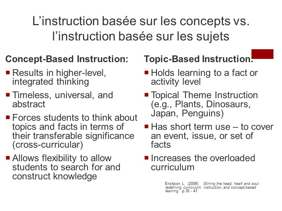 L'instruction basée sur les concepts vs