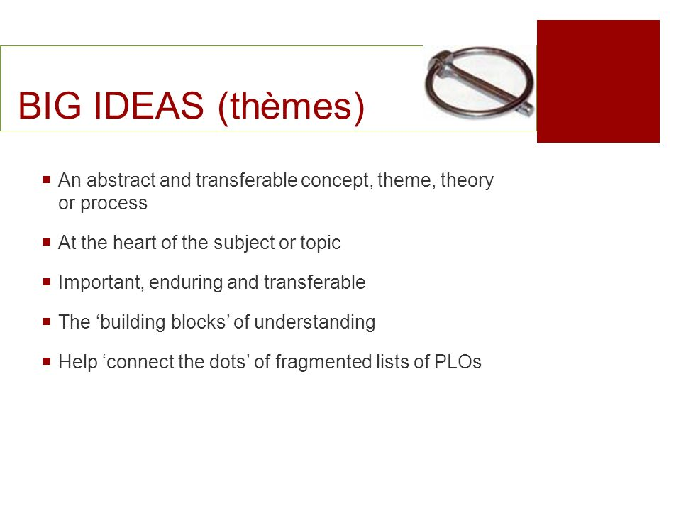 BIG IDEAS (thèmes) An abstract and transferable concept, theme, theory or process. At the heart of the subject or topic.