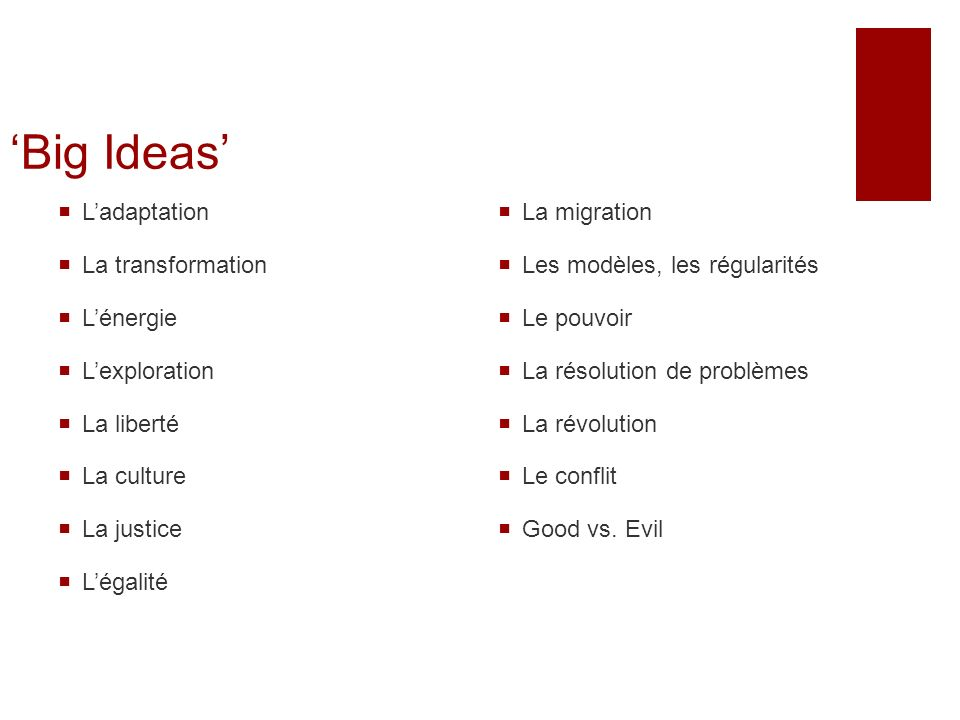 'Big Ideas' L'adaptation La transformation L'énergie L'exploration