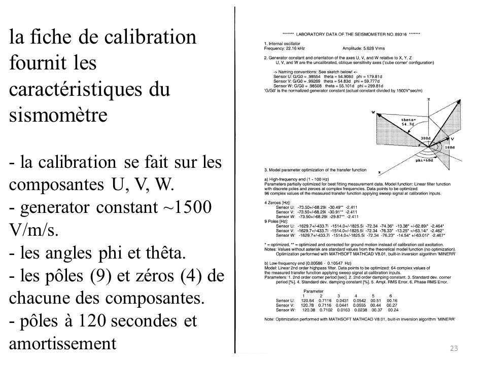 la fiche de calibration fournit les caractéristiques du sismomètre - la calibration se fait sur les composantes U, V, W.
