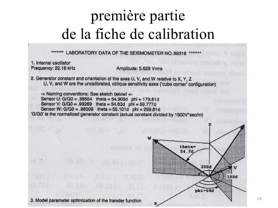 première partie de la fiche de calibration
