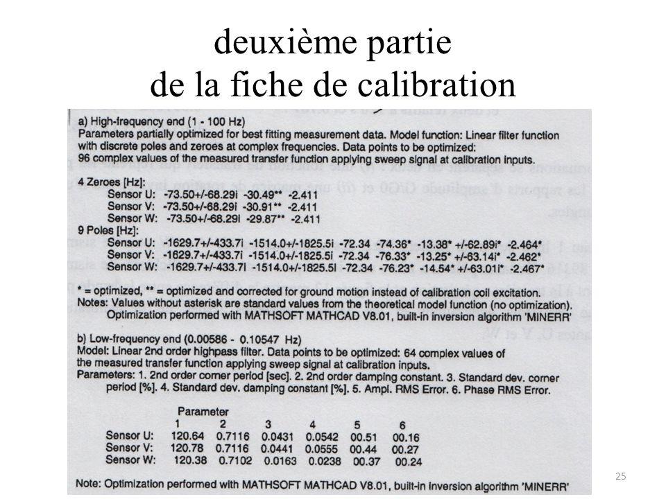 deuxième partie de la fiche de calibration