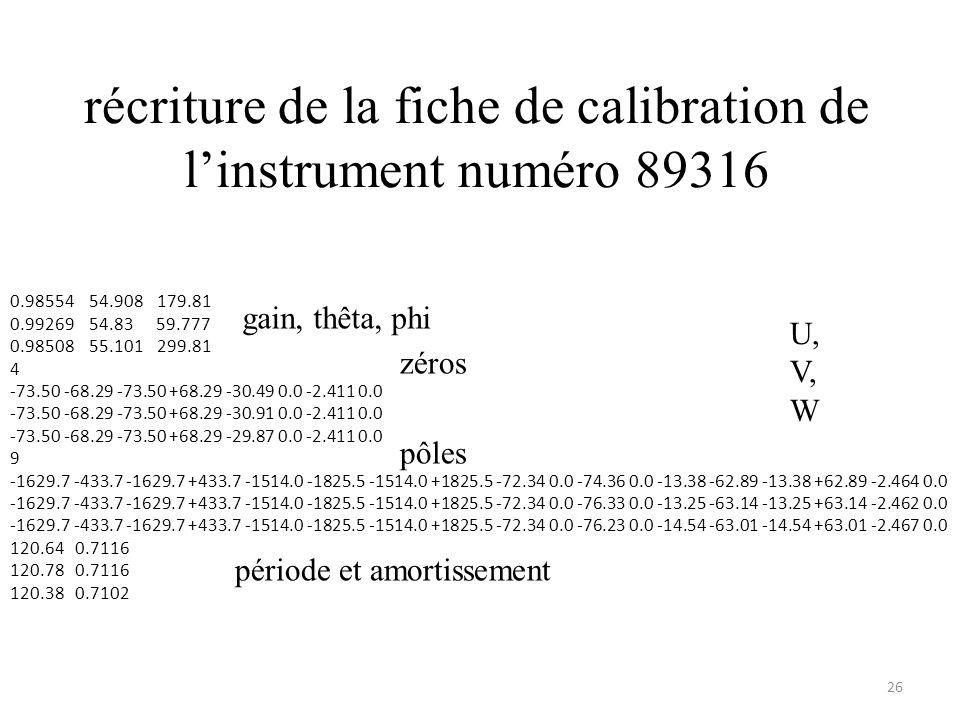récriture de la fiche de calibration de l'instrument numéro 89316