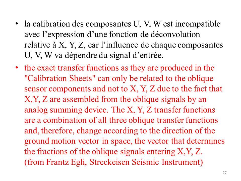 la calibration des composantes U, V, W est incompatible avec l'expression d'une fonction de déconvolution relative à X, Y, Z, car l'influence de chaque composantes U, V, W va dépendre du signal d'entrée.