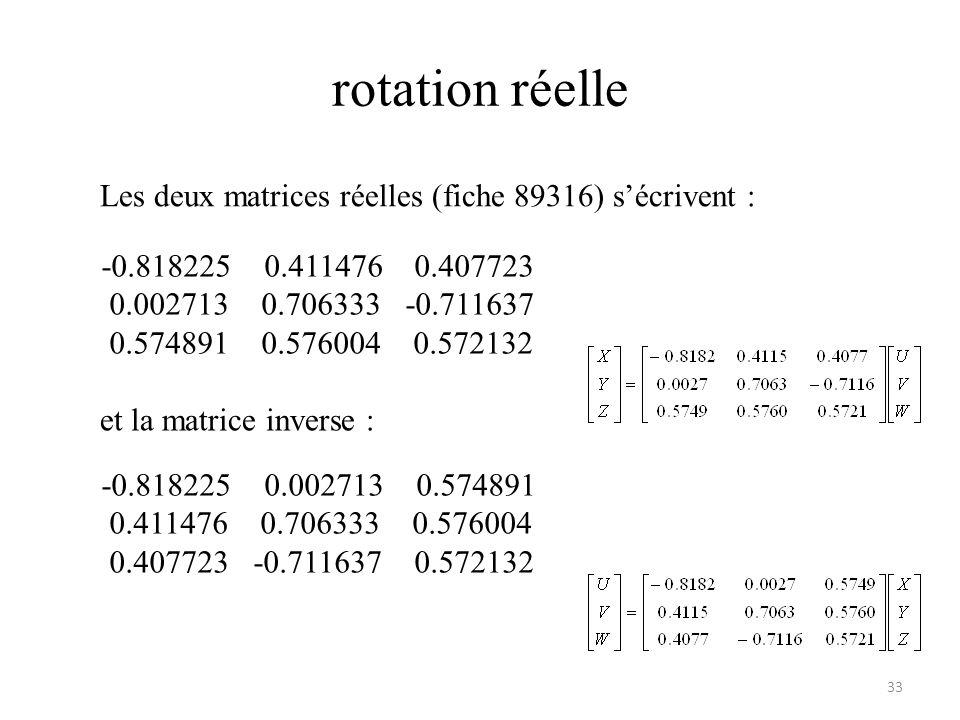rotation réelle Les deux matrices réelles (fiche 89316) s'écrivent :