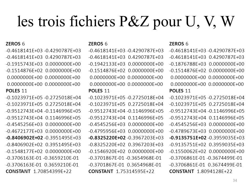 les trois fichiers P&Z pour U, V, W