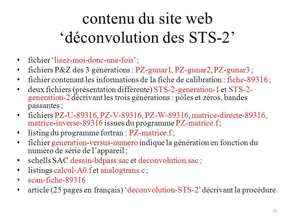 contenu du site web 'déconvolution des STS-2'