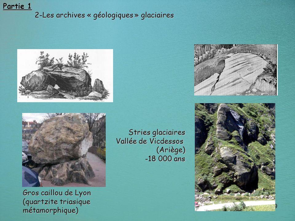 Partie 1 2-Les archives « géologiques » glaciaires. Stries glaciaires Vallée de Vicdessos (Ariège) -18 000 ans.