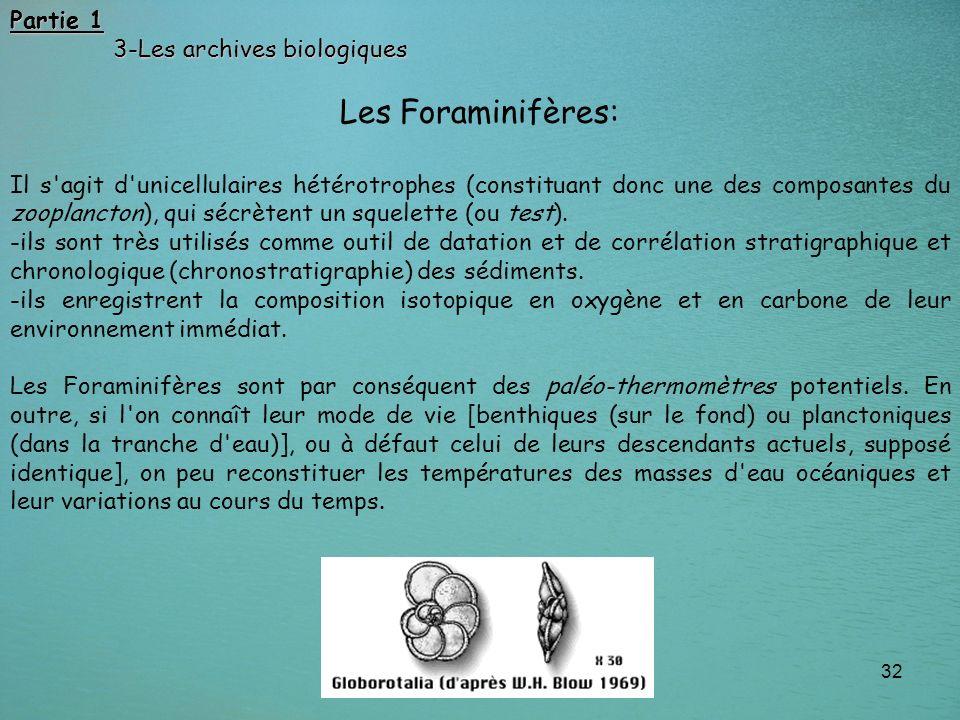 Les Foraminifères: Partie 1 3-Les archives biologiques
