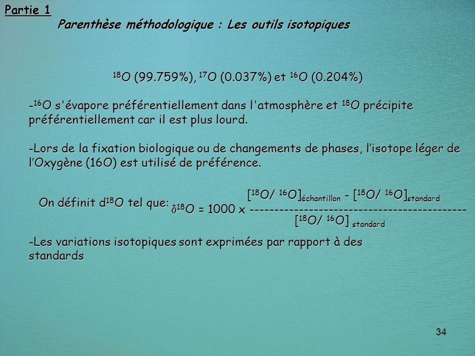 Partie 1 Parenthèse méthodologique : Les outils isotopiques. 18O (99.759%), 17O (0.037%) et 16O (0.204%)