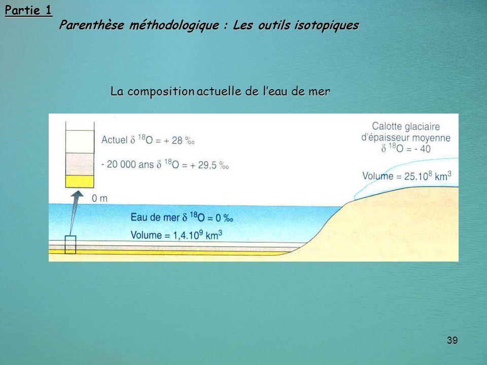 Partie 1 Parenthèse méthodologique : Les outils isotopiques La composition actuelle de l'eau de mer